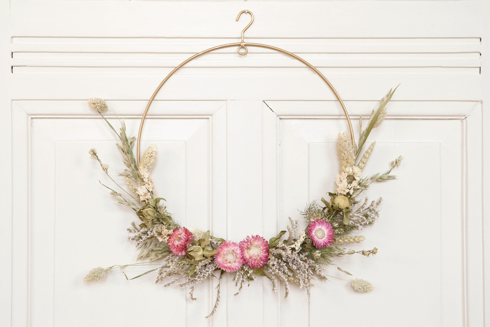 droogbloemen krans roze 30cm